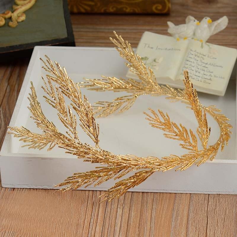 Vintage Gold Baroque Headbands leaf Headband Hair Jewelry Wedding Hair Accessories Princess Tiara Handmade Bridal HeadpieceT-715