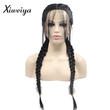 Xiweiya black Double Braids Synthetic Braided Lace Front Wig with Baby Hair Wig Heat Resistant Fiber Middle Part black braid