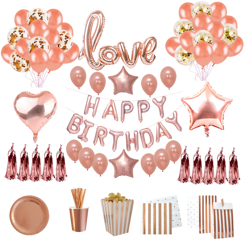 Rose Gold Birthday Party Decorations Adult Happy Birthday 40Inch Number Balloons Paper -2477