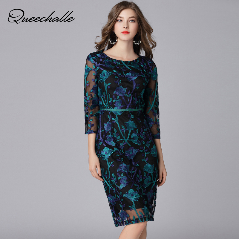 Queechalle Elegant Embroidery Lace Dress Women s Vintage Print Slim Sexy Large Size Office Dress 4XL