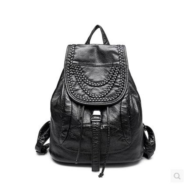 Designer rivet black women backpack high quality PU leather bags large capacity lesuire ladies travel backpacks
