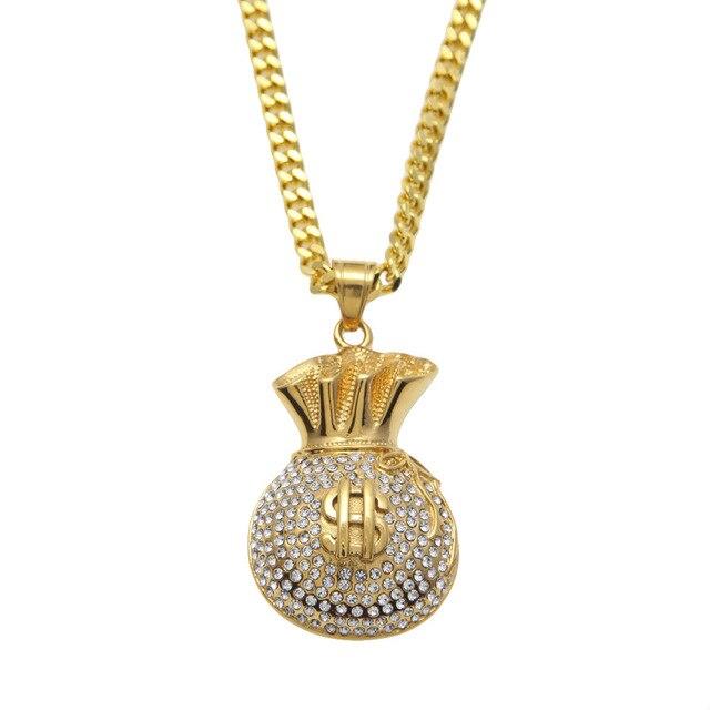 Steel nightclub gold us dollars purse pendants chains men women steel nightclub gold us dollars purse pendants chains men women bling hip hop necklaces full rhinestone mozeypictures Gallery