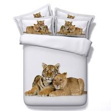 Tiger Bedding set Lion 3D quilt duvet cover bed sheet sheets linen Luxury Animal print California King size Queen full twin 4PCS