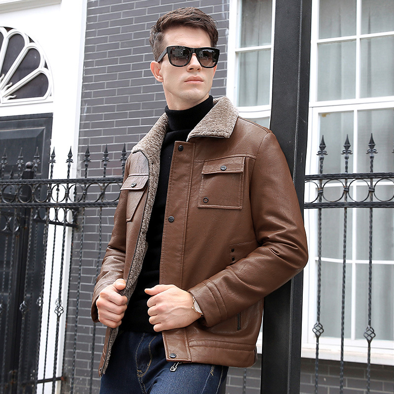 Autumn winter men's PU Leather New Youth repair motorcycle leather jacket plus thick leisure jacket