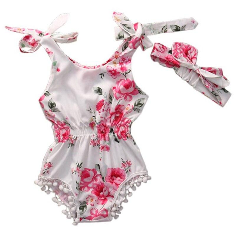 2017 Cotton Infant Baby Girl Romper Headband Set Elastic Waist Newborn Baby Clothes Suit Baptism High