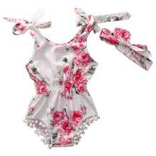2017 Cotton Infant Baby Girl Romper Headband Set Elastic Waist Newborn Baby Clothes Suit Baptism High Quality Playsuit
