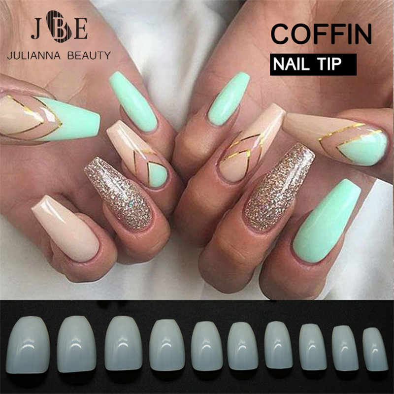 500pcs New Design Coffin Nail Tips Long Clear False Nails ABS Artificial  Full Cover Fake Nails DIY Acrylic Nail Art Tips 10 Size