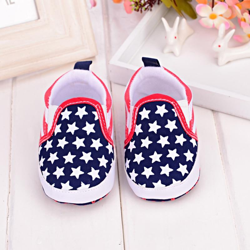 Slip-on The Five-star Flag Design Baby Boy Shoes Newborn Spring/Autumn First Walkers Unisex Kids Soft Sole Baby Sport Sneaker
