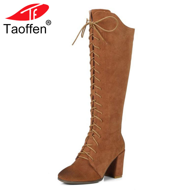 TAOFFEN Size 34-41 Gladiator Winter Shoes Women Real Leather Thick Heel Knee High Winter Boots Women Cross Strap Warm Botas y design 3 ways 8mm pneumatic piping quick joint fittings connector 10 pcs