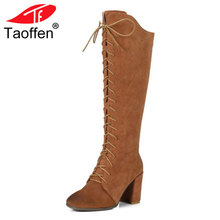 TAOFFEN Size 34-41 Gladiator Winter Shoes Women Real Leather Thick Heel Knee High Winter Boots Women Cross Strap Warm Botas