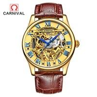 Carnevale Cuoio Numero Lunetta Sport Design Orologio D'oro Mens AAA Orologi Top Brand di Lusso Vigilanza Meccanica Automatica Orologio Relogio