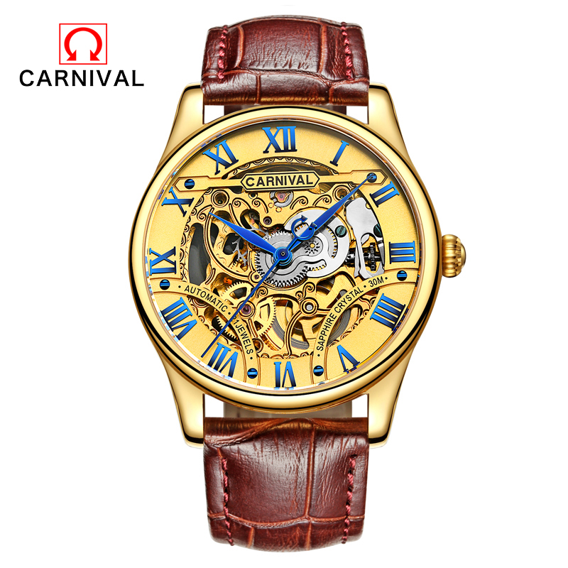 Carnival Leather Gold Watch Number Bezel Sport Design Mens AAA Watches Top Brand Luxury Automatic Mechanical Watch Clock Relogio carnival top brand automatic watch men luxury diamond gold mechanical watches datejust fluted bezel mens clock horloges mannen
