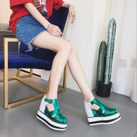 Blue Sandals Platform Women 2019 Ladies Casual Shoes Wedge High Chunky Heel Sandals Summer Shoes High Top Ankle Shoes