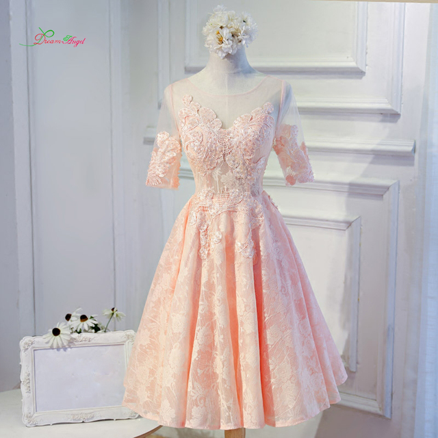 5272958b98faa Dream Angel Elegant Short Sleeve Tea Length Homecoming Dresses 2019  Appliques Lace Short Special Occasion Dress For Party