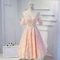 Dream Angel Elegant Short Sleeve Tea Length Homecoming Dresses 2017 Appliques Lace Short Special Occasion Dress