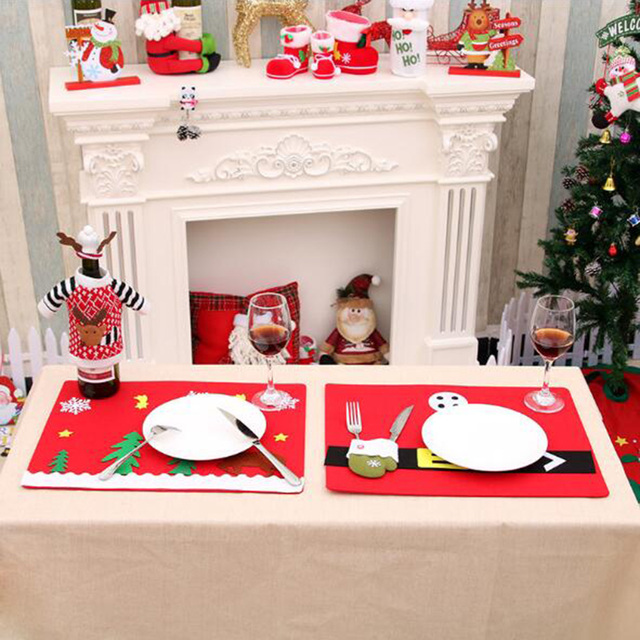 sanyi non woven christmas table mat fork knife placemats deer napkins cloth decor cover xmas - Christmas Napkins Cloth