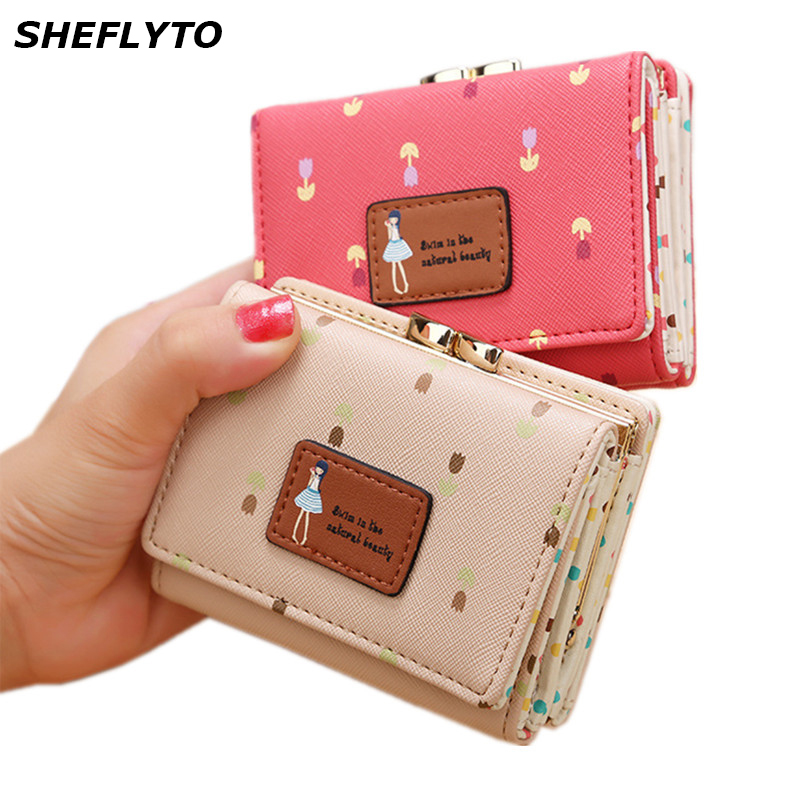 2018 Luxury Brand Small Wallets Women Leather Lovely Wallets Female Hasp Short Coin Purses