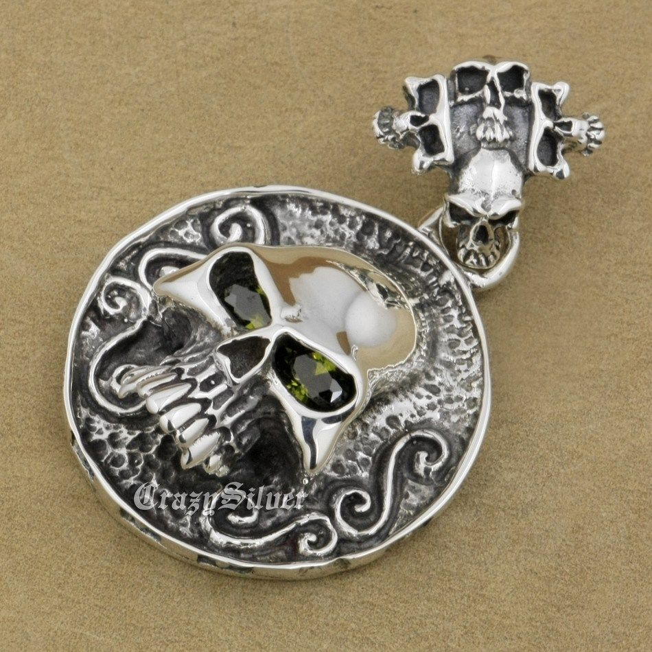 CZ Eyes Skull Heavy Huge 925 Sterling Silver Mens Biker Rocker Punk Pendant 8C105 (Only Pendant) 925 sterling silver crescent moon skull mens biker rocker punk pendant 9v010 free shipping