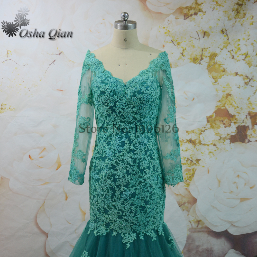 Emerald Green Evening Dress Long Sleeved Lace Turkish Evening Gowns ...