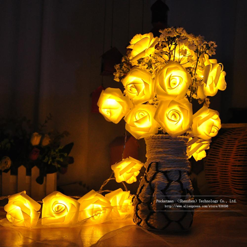 Mode Liburan Pencahayaan 20 pcs / lot Novelty Rose Flower Peri String Lights Pernikahan Garden Party Dekorasi Natal
