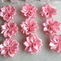 HL 30pcs 35mm Pink Double Ribbon Flowers Handmade  Apparel Accessories Sewing Appliques DIY Crafts A647