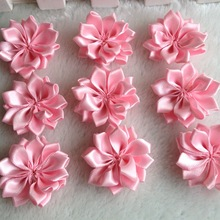30pcs 35mm Pink Double Ribbon Flowers Handmade Apparel Accessories Sewing Appliques DIY Crafts A647