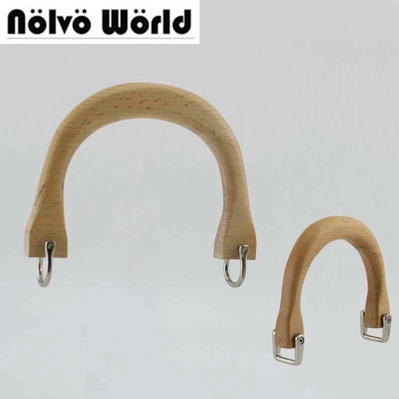 5 Pieces,10.5X8cm,15.5X11.5cm Beech Tree Wooden Handle Natural Color SOLID Wood Handles For Ladies Bag Handbags Handle