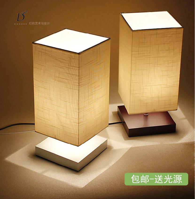 moderno breve lmparas para el dormitorio lights mesita de noche de madera regulable tela dormitorio accesorio de iluminacin e27 110 v 220 v en led - Lamparas De Mesilla De Noche