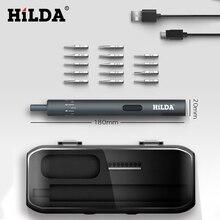 HILDA, Электрическая отвертка, перезаряжаемая, беспроводная, шуруповерт, набор, светодиодный светильник, 800 мАч, набор инструментов для ремонта литиевой батареи