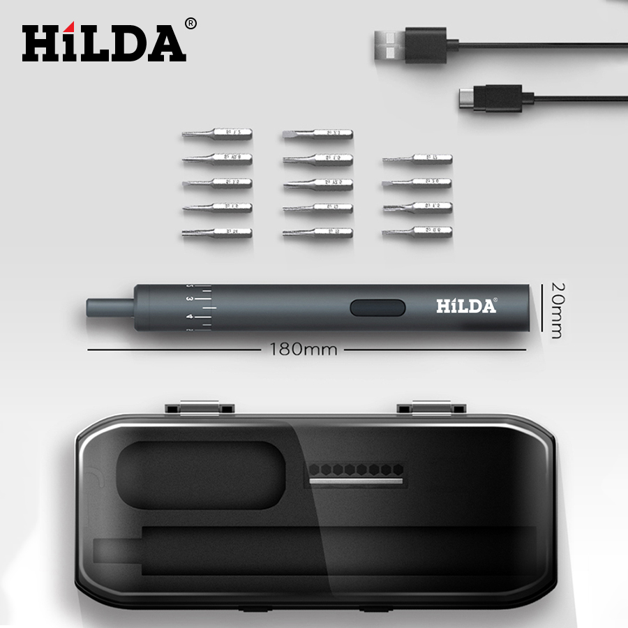 HILDA Electric Screwdriver Rechargeable Cordless Power Screw Driver Kit With LED Light 800mAh Lithium Battery Repair Tool Set