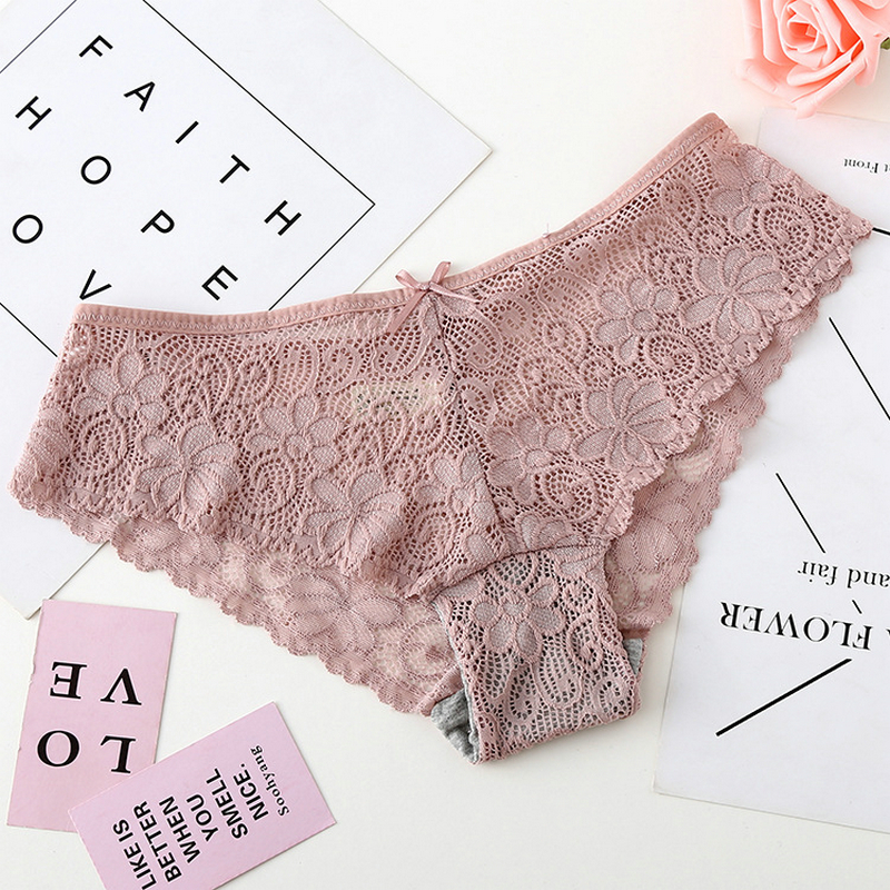 DeRuiLaDy Elegant Style   Panties   Low Rise Cotton Lace Floral   Panties   Women Sexy Lingerie Breathable Solid Briefs Underwear Women