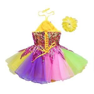 Image 4 - Tenue de danse pour enfants filles, robe Tutu à fleurs, col licou, paillettes colorées, salon de Ballet pour enfants