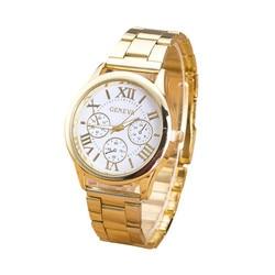 أزياء النساء ووتش الأرقام الرومانية الإناث ساعة الفولاذ المقاوم للصدأ الكلاسيكية ساعة يد كوارتز بقرص دائري الذهب Relogio feminino