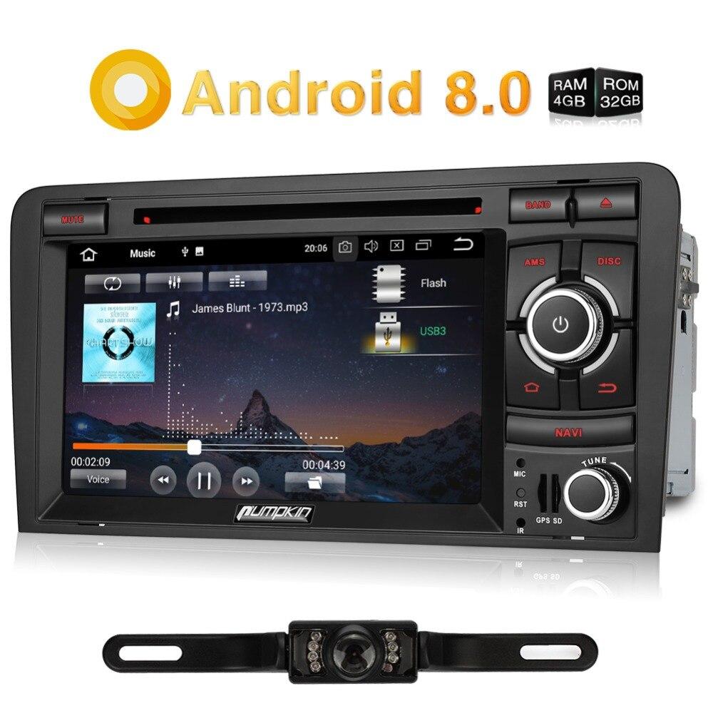 Citrouille 2 Din 7 ''Android 8.0 Voiture Multimédia Lecteur DVD GPS de Navigation Bluetooth Voiture Radio Wifi Autoradio Pour Audi a3 2003-2011