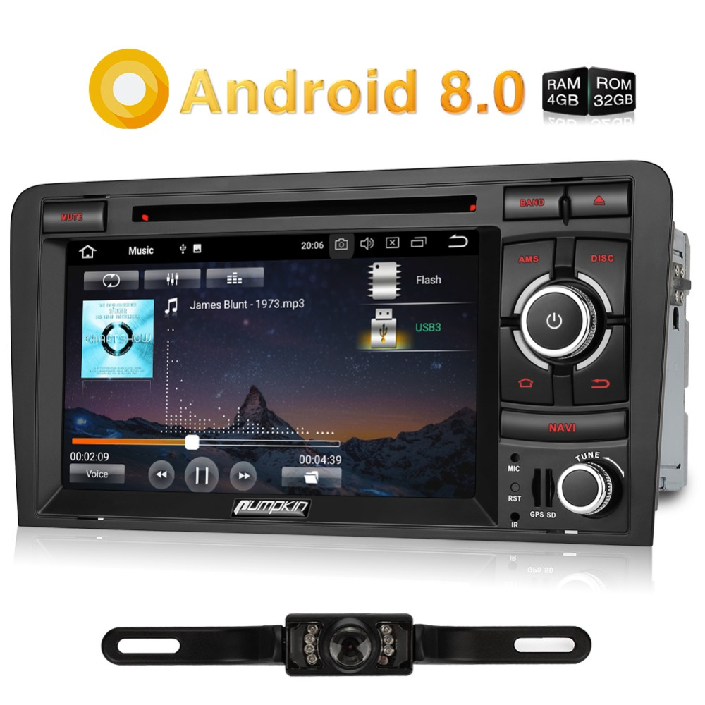 Zucca 2 Din 7 ''Android 8.0 Car Multimedia Lettore DVD di Navigazione GPS per Auto Bluetooth Radio Wifi Autoradio Per Audi a3 2003-2011