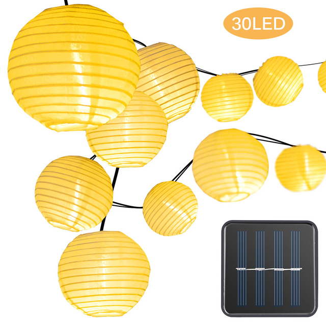 30LEDs Solar Fairy Lights Outdoor Solar Lights Garden Lights Lantern Waterproof Garden Holiday Wedding Decoration Lighting
