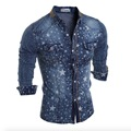 2017 New Fashion Denim Jeans Shirt Men Cotton Slim Fit Brand Casual Shirts Long Sleeve Mens Cowboy Shirt Camisa Jeans Masculina