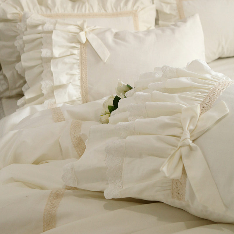 1 Pair Embroidered Ruffle Lace Pillowcase Best Children's Lighting & Home Decor Online Store