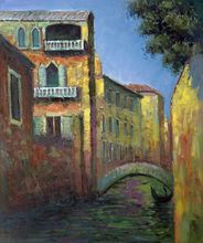 Venice, Rio della Salute by Claude Monet Handpainted