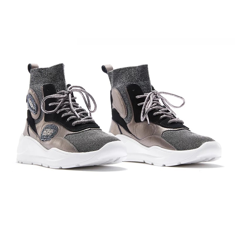 Sport Ugi Femmes 2018 Orteil Chaussures Chaude Véritable Casual Chaussette Top D'hiver Neige High argent En Noir Rounde Bottes Cuir Cheville De OOrpf