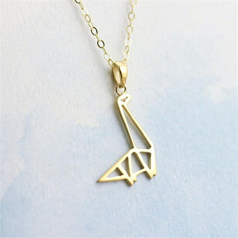 Delicate gold silver origami pendant dinosaur animal pendant delicate gold silver origami pendant dinosaur animal pendant necklace unique design dinosour symbol jewelry in chain necklaces from jewelry accessories on aloadofball Images