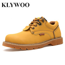 KLYWOO Winter Men Ankle Boots Leather Mens Boots Martin Outdoor Casual Lace Up Brand Designer Work Men Boots Winter Shoes Men