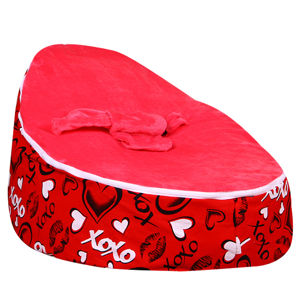 Levmoon Medium Red Lover Bean Bag Chair Kids Bed For Sleeping Portable Folding Child Seat Sofa Zac Without The Filler
