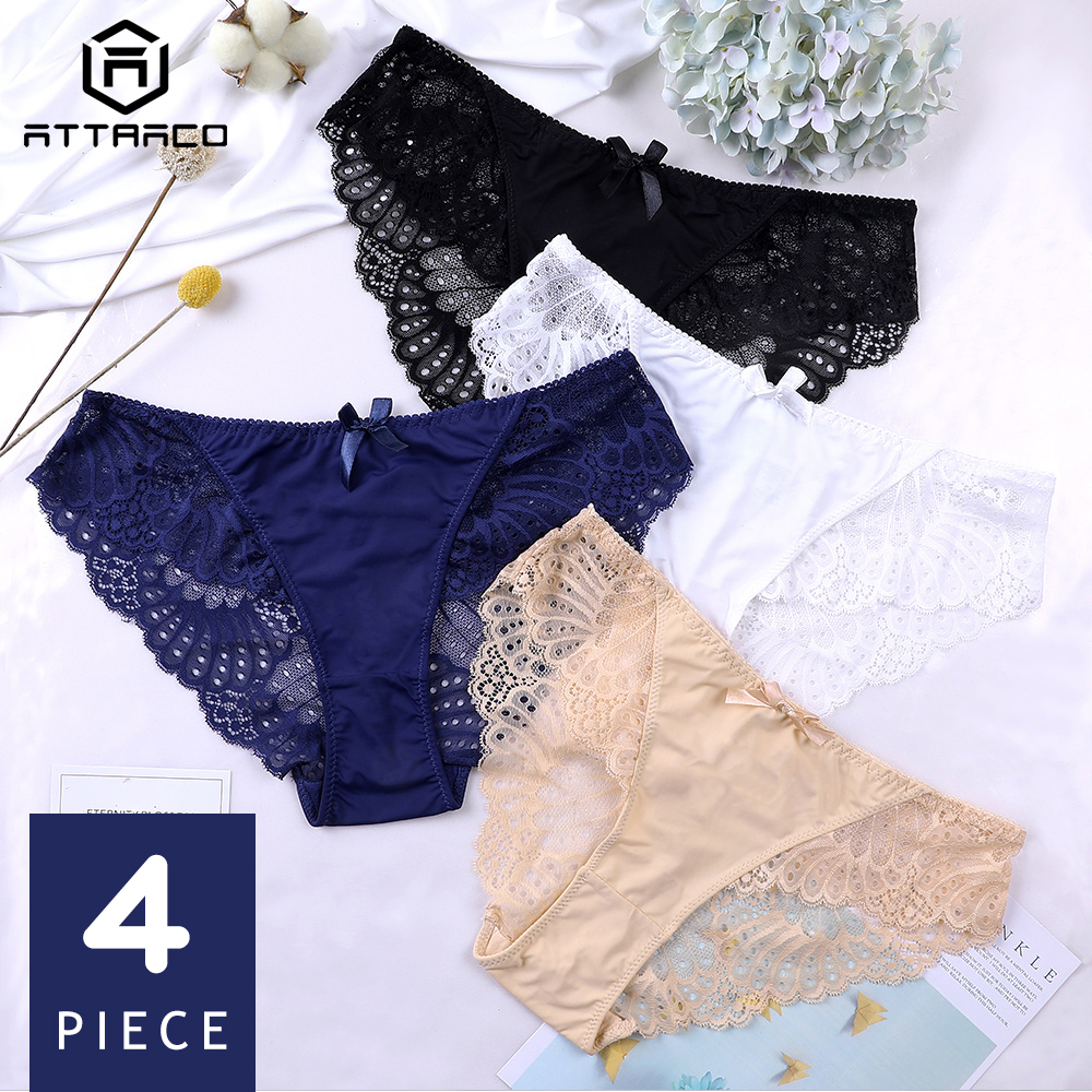 ATTRACO Women's Hipster Underwear V String   Panties   Briefs Lace sexy Cotton 4 Pack Tanga Thong Lace Edge Breathable Transparent