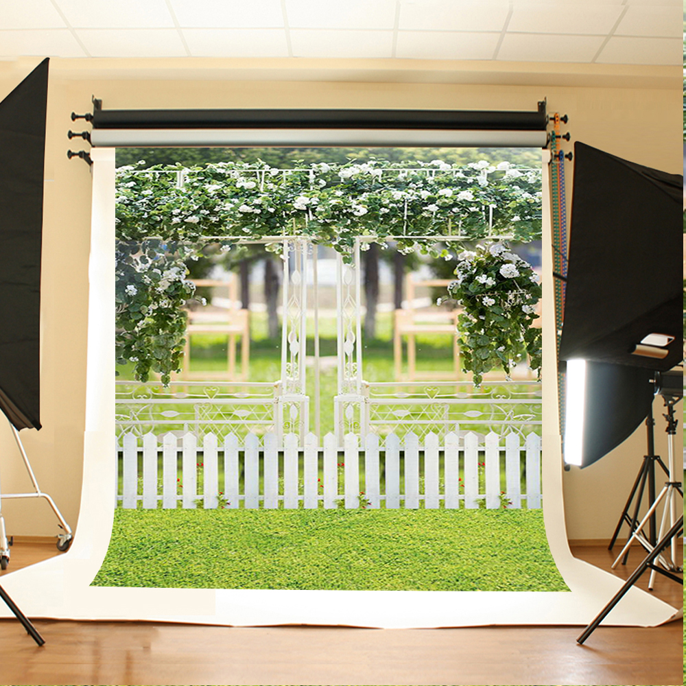 Wedding Photography Backdrops Flowers Green Leaves Photo Booth Backdrop Grass White Fence Background for Photography Studio