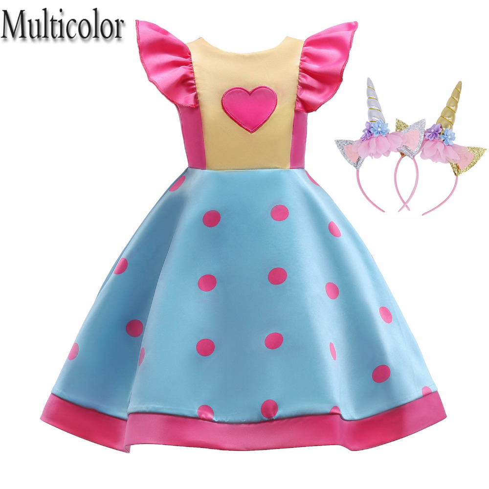 Multicolor Girls Dress Wave point Bow Children Wedding Party Dresses Kids Evening Ball Gowns Formal Baby Frocks Clothes for Girl