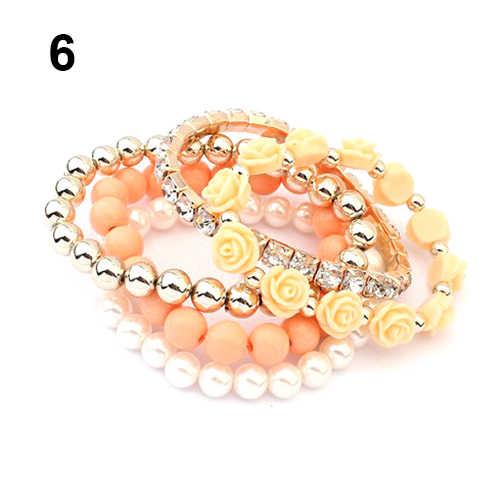 Акриловые розы круглый с искусственным жемчугом Сияющий Украшенные стразами эластичный браслет для Для женщин женские 00qu