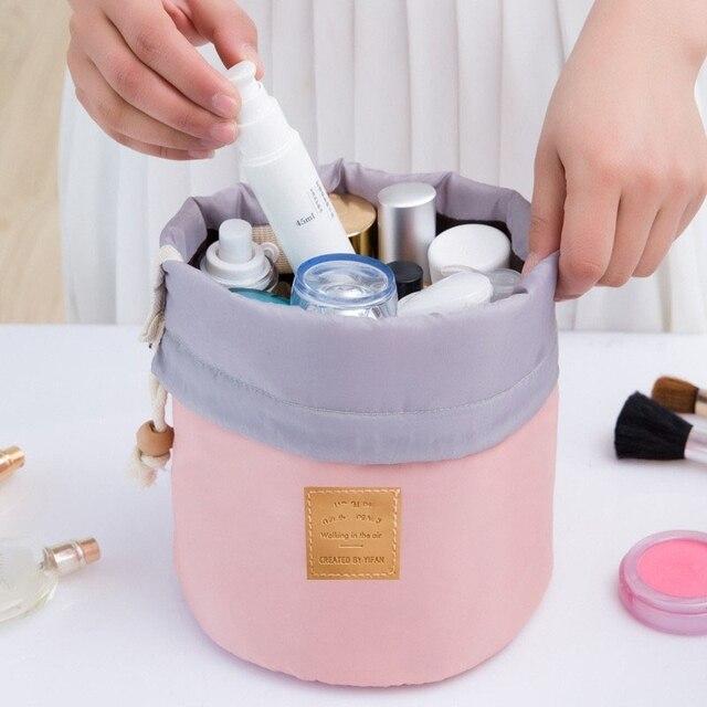 High Quality Waterproof Barrel Travel Cosmetic Bag Cosmetic Bags Nylon Wash Bag Dressing Box Storage Bags Large Capacity