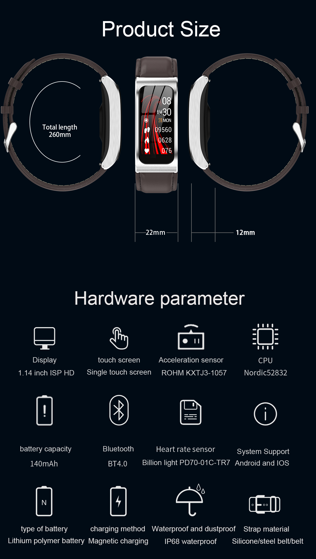 """Smartwatch 1,14"""" IP68 impermeable Android IOS 17"""
