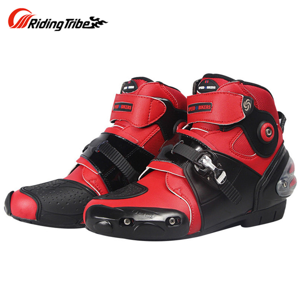 цена на Motorcycle Boots Shoes Short Motocross Botas Moto Motoqueiro Motocicleta A90367 Botte Botas Para Moto Men Shoes White Black Red
